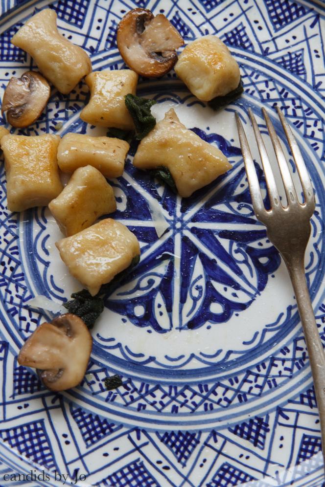 Plate half full: Pan-fried gnocchi with mushrooms & sage